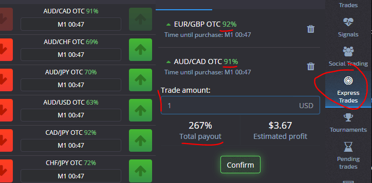 Express Trade mit hohem Gewinnample